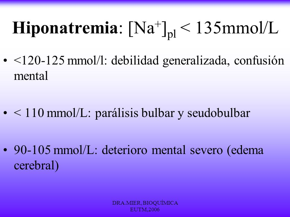 Hiponatremia: [Na+]pl < 135mmol/L